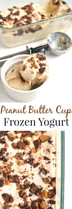 Peanut Butter Cup Frozen Yogurt is a healthier treat with only 3 ingredients, is packed full of protein with Greek yogurt and tastes like an indulgent dessert with chunks of creamy peanut butter cups and the creamiest ice cream base! Greek Yogurt Dessert, Greek Yogurt And Peanut Butter, Frozen Greek Yogurt, Frozen Yogurt Recipes, Healthy Frozen Yogurt, Frozen Yogurt Bites, Creamy Frozen Yogurt Recipe, Almond Butter, Desserts With Greek Yogurt