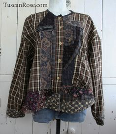 reconstructed Prairie cropped Jacket - top - lagenlook bohemian grunge revival - xsmall to xlarge. $82.00, via Etsy.