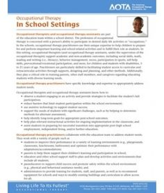 Occupational Therapy  In School Settings