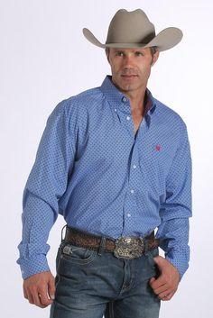 Cinch Men's Royal Blue Diamond Print Long Sleeve Shirt – Keffeler Kreations | HilltopBoutique.com