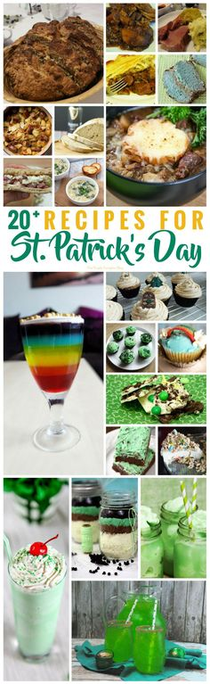 If you are looking for Recipes for St. Patrick's Day, here are 20+ delicious and fun St. Patrick's Day recipes for you to try out! They include savoury dishes, and sweet treats, cupcakes, and drinks! Celebrate the luck of the Irish and cook up some of these tasty recipes! Holiday Cookies, Holiday Desserts, Holiday Baking, Holiday Recipes, Yummy Treats, Yummy Food, Sweet Treats, Antipasti Platter, Kids Meals