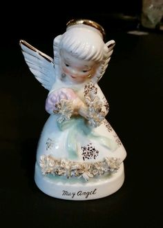 Vintage Napco May Angel Figurine Spaghetti  Holding Flowers