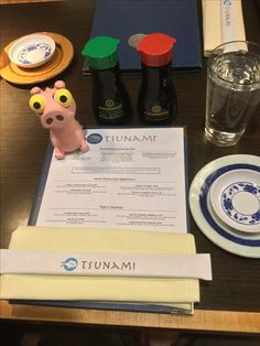 Izzy enjoying his Tsunami Restaurant Experience in South Jordan, Utah 12-Nov-2016. The Sake kicked his butt and mine.   Tsunami offers premium sushi, innovative cuisine, and a fun contemporary atmosphere with three locations to serve Utah sushi eaters.