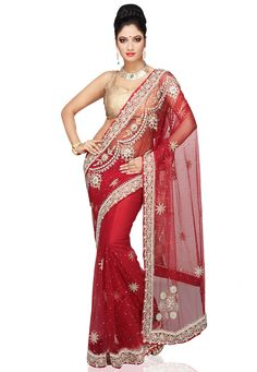 Red Net Saree with Blouse: SCSA19