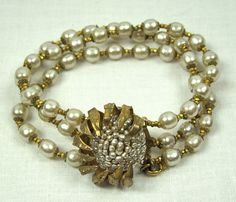Vintage Miriam Haskell Faux Pearl & Gold Claw Bracelet