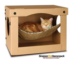 Cat hammock in a box! I wonder how hard this would be to make? The boys would love it!
