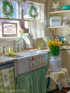 We've been enjoying some spring-like days here in NJ and that has motivated me to add a few early spring touches throughout our home. I made a new green and. Farmhouse Sink Kitchen, Kitchen Design Small, Kitchen Cabinet Design, Vintage Kitchen, Kitchen Remodel, Cottage Kitchen, Cottage Style Kitchen, Kitchen Styling, Kitchen Design