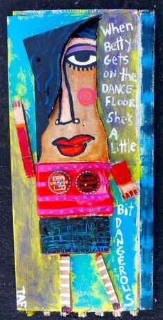 Tracey Ann Finley Original Outsider Folk Wood Scrap Painting Lady DANCE Naive nr #OutsiderArt