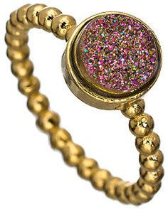 Dara Ettinger Gold Magenta Victoria Stackable Ring $75.00