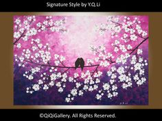 """Abstract Landscape Painting Original Modern Heavy Texture Impasto Palette Knife Tree Love Birds Wall Décor """"Rosy Dream"""" by QIQIGALLERY"""