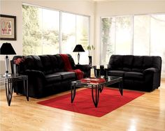 Living Room:Splendid Black Living Room Furniture Red Rugs Under Table Small Chairs Modern Liviing Decor White Color Scenic And Pillow Large Glass Gray Rug Ceiling Pattern Ideas Futuristic Cool Interior Apartment Living Room