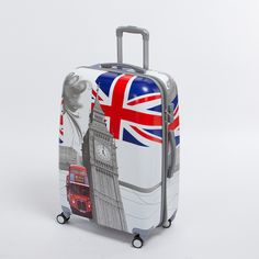 24 inch pc male and female hardside trolley luggage on universal wheels,uk flag,london tower,london bus travel rolling luggages