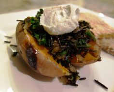 Whole Sweet Potatoes with Wild Black Rice, Kale and Lime Cashew Sour Cream