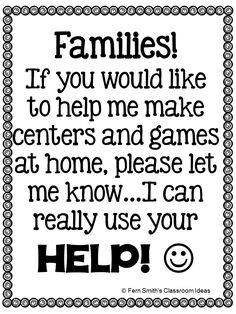 Fern Smith's FREE Stay At Home School Volunteer Request Poster   School Volunteer Request Poster  Many families including grandparents love to help you but need to stay at home for various reason. Place this poster at your door to let them know you would love their help!   Click here to download it at my blog!  Your students will love it!  3-5 Fern Smith's Classroom Ideas grandparents parent communication Parent Night parents PK-2 Volunteers