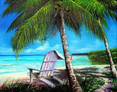 Slow down sometimes.  #DoNothing Chair Under A Palm Tree Painting  - Chair Under A Palm Tree Fine Art Print