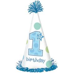 1st Birthday Boy Cone Hat First Party Supplies Themes