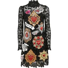 Applique Detail Lace Dress (€4.561) ❤ liked on Polyvore featuring dresses, nero, high neck lace dress, dolce gabbana dress, lacy dress, longsleeve dress and high neck long sleeve dress