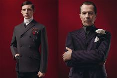 Steampunk Prada - Actors Jamie Bell and Gary Oldman (L-R) model the steampunk-inspired Prada 2012 Fall/Winter Menswear Collection.