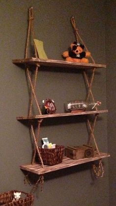 Rustic shelves shelves on wall, hanging rope shelves, cool shelves, rustic Awesome Woodworking Ideas, Fine Woodworking, Woodworking Crafts, Woodworking Beginner, Woodworking Lamp, Intarsia Woodworking, Woodworking Techniques, Wall Hanging Shelves, Shelves In Bedroom