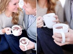 Hot cocoa + marshmallows in the snow = a cosy engagement shoot   photos by http://www.lauramurrayphotography.com