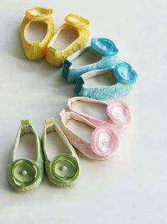 Easter Shoes - Ballet Slipper Baby Shoes - Green, Pink, Turquoise & Yellow Lace and Satin - Sizes 1 to 5 - Baby Souls Couture Baby Shoes http://www.etsy.com/listing/94431664/easter-shoes-ballet-slipper-baby-shoes?ref=sr_gallery_4=_search_submit=_search_query=easter+shoes_order=most_relevant_ship_to=US_view_type=gallery_search_type=handmade_facet=handmade