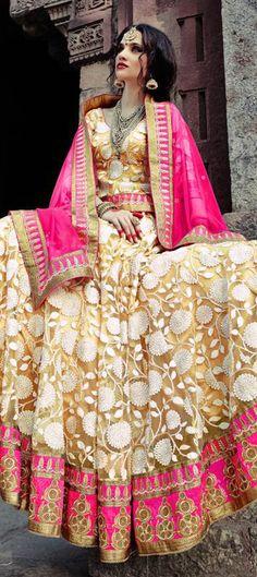 156765: BRIDAL WEAR - check out the latest range of #Lehenga for weddings. Order this one at flat 10% off.  #IndianWedding #indianfashion #beige #bridalwear #onlineshopping