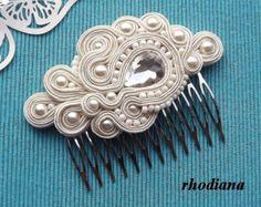 Nude y oro Soutache peine accesorio del pelo por RhodianaSoutache
