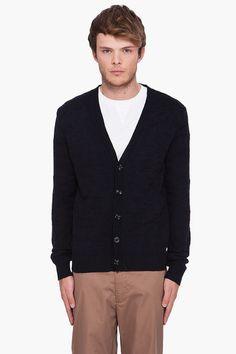 Maison Martin Margiela Black Wool Blend Cardigan   $416
