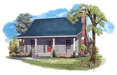 Elevation of Cottage Country Farmhouse House Plan 950 sq. Cottage Style House Plans, Southern House Plans, Ranch House Plans, Cottage Style Homes, Rustic Cottage, Cottage House Plans, Country House Plans, Small House Plans, House Floor Plans