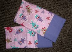 Sock Monkey Monkeys Flannel pillowcases PAIR by Gingerbread123