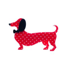 "Erstwilder Limited Edition Spiffy the Sauage Dog red polka dot resin brooch. ""The long and short of it is this: who doesn't look spiffy when sporting a bow tie like that?"""