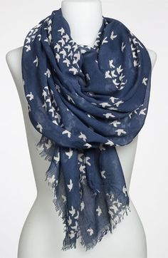 Steve Madden School of Birds Scarf available at Nordstrom Mode Choc, Look Fashion, Fashion Beauty, Cute Scarfs, Scarf Hat, Scarf Styles, What To Wear, Style Me, Cute Outfits