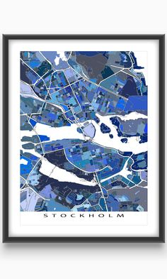 Hang a bit of beautiful and fun Stockholm #Sweden on your wall with this Stockholm #map print.  This city map has a modern, abstract street art design made from of lots of little blue shapes. Each shape is actually a city block or a piece of land - and these shapes combine like a puzzle or mosaic to form this #Stockholm print.