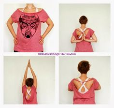 Oversized No Sew Workout Top Make a cool workout top or yoga t-shirt simply by cutting an oversized t-shirt. No sewing involved. A step by step tutorial with photos.