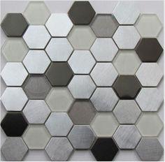 S/S BLACK/GLASS HEX MOS 48MM Carrara Marble, Black Glass, Basket Weaving, Mosaic, Kitchens, Bronze, Black And White, Blanco Y Negro, Cuisine
