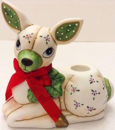 Vintage Lefton Christmas Deer Reindeer Candle Holder 1987 Figurine