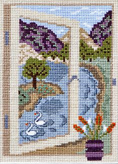 beautiful cross stitch   This beautiful counted cross stitch 'through the window' design from ...