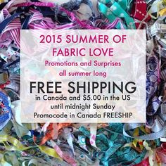 Introducing the #summeroffabriclove at #fabricspark. Every week we will have promos or give aways or new news. Starting with #freeshipping in Canada and $5 shipping in the US until midnight Sunday.
