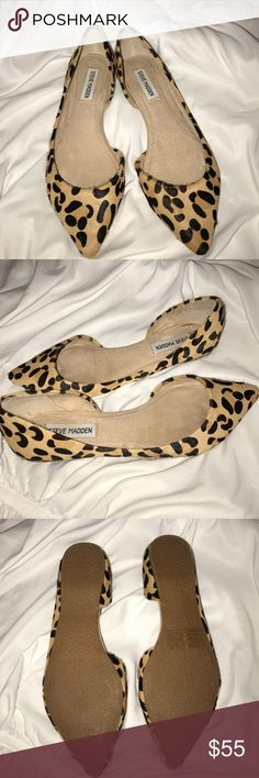 Steve Madden leopard flats I only wore these for a few hours for an event! I love this pointy toe look for a casual or formal look! Great condition!! Steve Madden Shoes Flats & Loafers