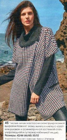 клетчатый жакет с короткими рукавами и врезными карманами