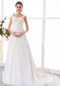 c5040738e4d White Chiffon Cap Sleeves Applique Over All Bodice Maternity Wedding Dresses   Pregnant Bridal Gowns 8134007