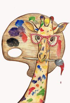 Zee giraffe as artiste Giraffe Decor, Giraffe Art, Cute Giraffe, Giraffe Painting, Watercolor Animals, Watercolor Art, Giraffe Pictures, Photo Chat, Whimsical Art