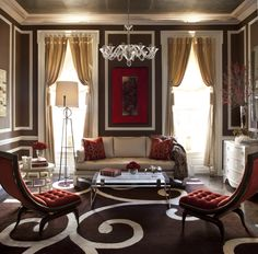 gorgeous chocolate brown and berry red colours. James Rixner, Holiday House NYC