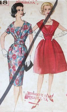 Vintage 1950s Pattern Simplicity 3748 Party Low Neckline Dress Uncut Size 16