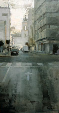 De mañana - Óleo sobre lienzo (73 x 38 cm.)