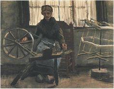 Vincent van Gogh Mujer enrollando hilo Watercolor 1884 col priv