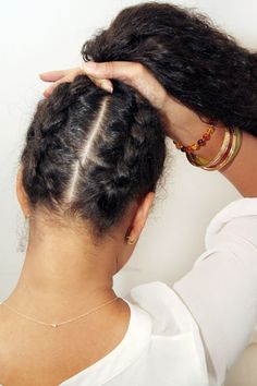 If you have shorter hair, keep the back pieces from falling out by double braiding it.