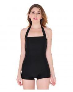Black Halter BoyShorts SwimSuit