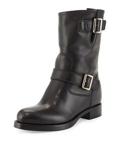 X2RKX Prada Soft Calf Leather Buckle Moto Boot, Black (Nero)