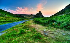 Download wallpapers 4k, England, Exmoor National Park, mountains, sunset, Great Britain, UK